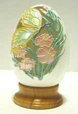 Enesco Joanne Hunot Collector Easter Egg w/ Cutout Butterfly Design Wooden Base