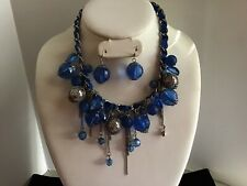 Blue Necklace With Acrylic Balls And Silver Accent Pierced Earings