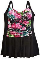 New Heat Womens Plus Size Swimdress Swimsuit 18 20 22 24 W Shirred Tropical