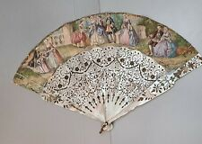 Antique Victorian French Fan Carved Pierced Mother Of Pearl late c.1800s
