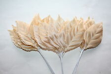 36 x LARGE CHAMPAGNE SATIN ROSE LEAVES 65mm x 40mm WIRED STEMS BRIDAL CRAFT