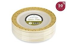 """50 Dinner Disposable Plastic Plates Ivory Color With Gold Lace Rim10.25"""" ELEGANT"""