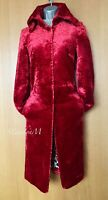 Karen Millen UK 10 Vintage Cherry Red Faux Fur Coat Jacket Party Evening EU 38