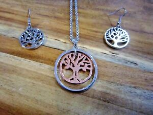 2 Tone Tree of Life Necklace & Earring Set