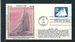US SC # U598 America's Cup Yacht Races - Reliance 1903 - FDC. Colorano Silk