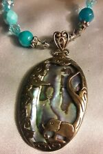 Fine Sterling silver Abalone shell Pendant Gemstone Beaded Necklace