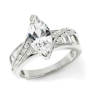 3.2 ct D/VVS1 Marquise & Baguette Wedding Culster Ring 14K White Gold Over Sz-8