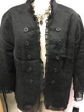 9614b179097fd Multiples Woman Black Open Jacket Coat Linen Sheer Ruffle Mixed Media Plus  2X 20