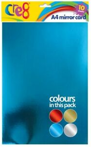 Cre8 A4  Mirror Card 10 Sheets Per Pack Crafting Scrapbooking Craft Art  200GSM