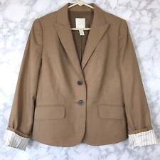 J.Crew sz 8 Super 120s Wool Tan Brown Two-Button Blazer Jacket w/ Striped Cuffs