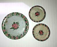 Set of 3 Ohio Art Co. Child's Toy Tin Litho Tea Set Plates Pink Roses Flowers