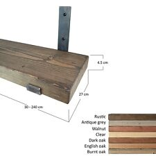 Wood Shelf With Raw Steel Industrial Style Brackets. Various Sizes. 27cm depth.