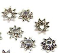 4x Edelstahl Perlenkappen Tibet Blume Schmuck Bastel Silbern Ohrringe Endkappen