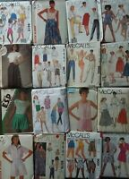 McCall's Vintage Sewing Patterns Pants Shorts Tops Skirts -U Pick! Lot #8
