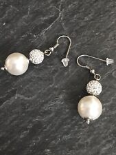 BNWOT Dangle Drop Earings Faux Pearl And Rhinestones Sparkle Party Statement