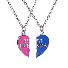 Best Friends BFF Friendship Heart Blue Red Pendants Charm Necklace Christmas