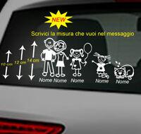 5 adesivi stickers adesivo famiglia a bordo vetri auto nome bambini coppia
