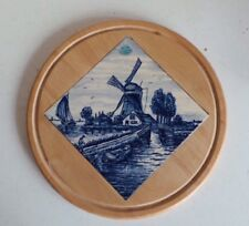 Bosman Delft's Blauw Holland Blue White Tile Set in Pine Wood Round Wall Plaque