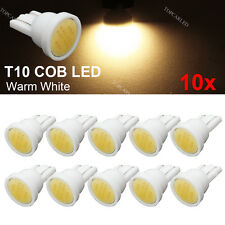 10pcs T10 W5W 194 COB LED Car Instrument Dash Light Side Wedge Bulbs Warm White