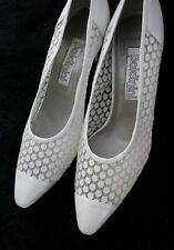 Baldinini heels pumps shoes leather Italy women White sequin lace 39 IT / 9 US