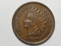 1907 US Indian Head Penny (AU w/ Full Liberty & Near 4 Diamonds).  #40