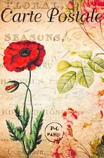 Postcard French Vintage Shabby Chic Style Red Poppy, Floral 76J