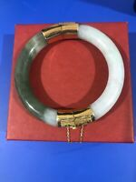 Antique Chinese 14K Gold, spinach & White JADEITE Jade Bangle Bracelet Heavy