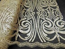 Sequin CHAMPAGNE Damask Mesh Polyester Lace Large Print Fancy angel dress fabric
