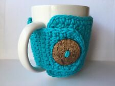 Crochet Coffee Cup Cozy with Button in Turquoise Made to Order