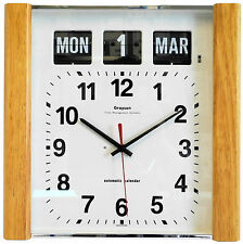Grayson Lightwood Panel Calendar Clock Day Date Month White Dementia - G239WL