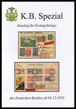 K.B. Special German Empire FDC Catalogue for first-day evidence from 01.12.1923