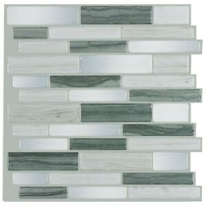 Modern Gray Linear Glossy Vinyl Mosaic Peel and Stick Tile MTO0463