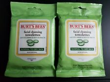 Two Burt's Bees Cucumber & Sage Facial Cleansing Towelettes 10 Count Sealed NEW
