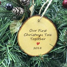 Our First Christmas Tree Together Present Decoration Bauble Log Slice Look 2018