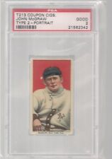 1914 T213 - 2 COUPON CIGARETTES JOHN MCGRAW PORTRAIT PSA 2  HOF