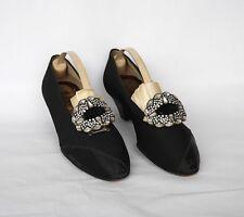 Vintage Shoes Vintage Delmans Womens Shoes Black Silk Pumps Kitten Heels Evening