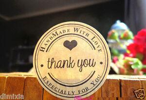 20X THANK YOU HANDMADE BIRTHDAY SEAL PARTY KRAFT WEDDING FAVOUR LABEL STICKER 35
