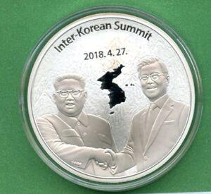 KOREA PEACE TALKS & SUMMIT   MOON JAEIN & KIM JONGUN   1 OZ SILVER  BOX COA