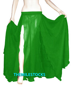 Emerald Green - TMS Slit Full Circle Skirt Belly Dance Gypsy Tribal - 25 Color