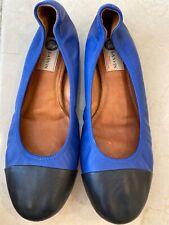 Women's LANVIN Ballerina Flats, Blue/ Black Leather Shoes Sz 40.5