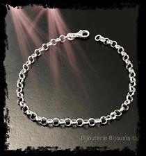 Bracelet Maille Jaseron En Argent Massif 925/000 Bijoux Femme Neuf
