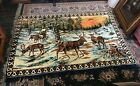 """Large Vintage Stag Deer in the Forest Tapestry Rug 72"""" by 48"""""""