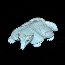 """Zuni Fetish by Fabian Cheama, Turquoise Badger w/Coral Eyes, 2""""L"""