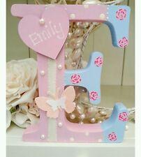 Shabby personalised girls handpainted roses wooden letter/name sign freestanding