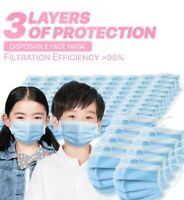 50/100 Pcs KIDS TODDLERS Blue Face Mask Mouth & Nose Protector Respirator Masks