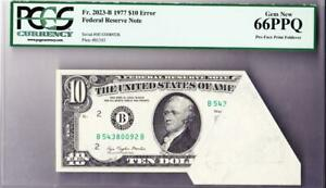 $10 Error Note FRN PCGS Gem New 66 PPQ Pre Face Print Foldover and Cutting