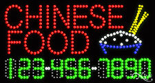 """NEW """"CHINESE FOOD"""" 32x17 w/YOUR PHONE NUMBER SOLID/FLASHING LED SIGN 25023"""