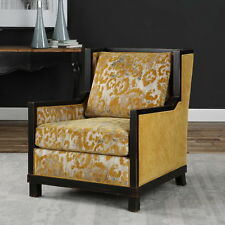 "31"" w Armchair high back ebony finished wood frame gold silver damask beautiful"