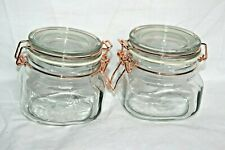 Set 2 Glass 500 Ml Eerin Clip Top Preserving Jars Copper Wire Clips Brand New
