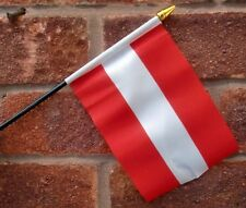 "AUSTRIA HAND WAVING FLAG Small 6"" x 4"" with black pole Austrian Vienna alps"